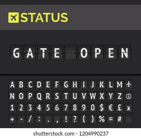 Analog flip board showing airport flight information of departure status: Gate open with aircraft sign icon and alphabet. Vector