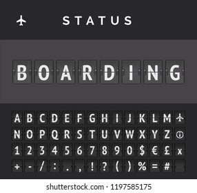 Analog flip board timetable showing airport flight information of departure status: boarding, with aircplane sign icon and abc . Vector illustration