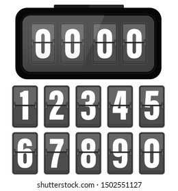 Analog flip clock counter. Retro design with numbers template. Flat vector stock illustration.isolated on white background.10 eps.
