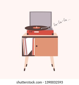 Analog music player or turntable playing song or vinyl record isolated on light background. Home furnishing or old-fashioned audio device. Colorful decorative vector illustration in modern flat style.