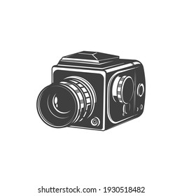 Analog photocamera isolated photo shooting device monochrome icon. Vector photographer instrument, photo-camera photography symbol. Vintage cam with folding zoom lens or object-glass, black and white