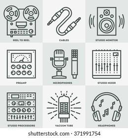 Analog Recording Vintage Music Studio. Line Design Icon Set. Vector Illustrations.