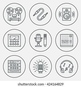 Analog Recording Vintage Music Studio. Line Design Circle Icon Set. Vector Illustrations.