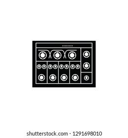 Analog rotary DJ mixer flat vector pictogram.