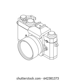Analog SLR Camera Vector Illustration VOL.05 - Thin flat line style vector 3d isometric illustration for your web design or print