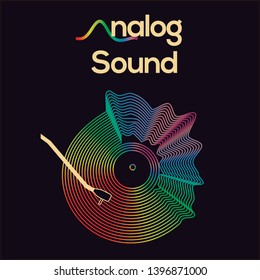Analog sound vinyl multicolor with text