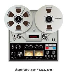 Analog stereo open reel tape deck recorder. Vector illustration