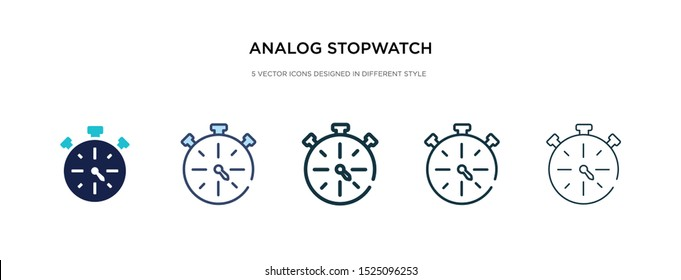 analog stopwatch icon in different style vector illustration. two colored and black analog stopwatch vector icons designed in filled, outline, line and stroke style can be used for web, mobile, ui