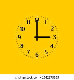 Analog vector clock face over yellow, with regular arabic numerals. Part of an analog clock, or watch. Round clock shows three o'clock