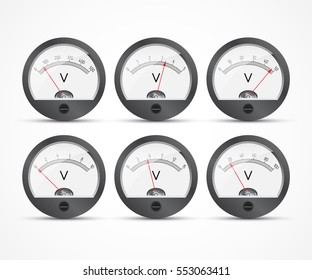 Analog voltmeter. Icons of electrical measuring instruments. Vector illustration.