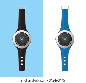 Analog Wrist Watch Vector isolated on white and blue background