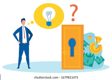 Analysing Bankruptcy Flat Vector Illustration. Cartoon Banker, Broker, Businessman, Finance Analyst Considering Money Loss Reasons. Broken Coins, Torn Banknotes behind Door with Keyhole