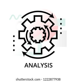 Analysis concept icon on abstract background from science icons set, for graphic and web design, modern editable line vector illustration