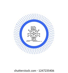 Analysis, data, datum, processing, reporting Line Icon. Vector isolated illustration