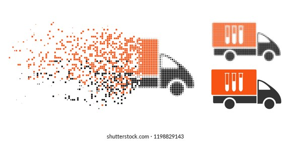 Analysis delivery icon in disappearing, dotted halftone and undamaged entire versions. Points are grouped into vector disappearing analysis delivery icon. Disappearing effect uses square particles.