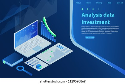 Analysis Finance Graph Financial Business Chart. Information searching, search engine optimization, concept site position result. Market trend analysis on laptop with graphs, isometric design.