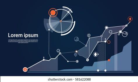 Illustration vectorielle à plat du diagramme financier Financial Business Graphique