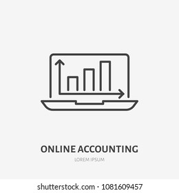 Analysis, finance infographic flat line icon. Online accounting, schedule sign. Thin linear logo for legal financial services, accountancy.