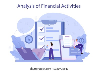 Analysis of financial activities. Business character reviewing company's financial operation. Marketing recommendation, budgeting. Isolated flat vector illustration