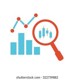 analysis graph magnifier bar graph flat design