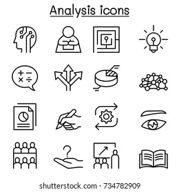 Analysis icon set in thin line style