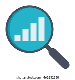 Analysis illustration with magnifying glass and bar chart.