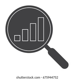 Analysis illustration with magnifying glass and bar chart, vector silhouette