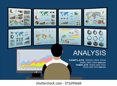 Analysis of information on the dashboard. Monitoring and statistics - vector illustration. Virtual screens concept - man watch on screens.