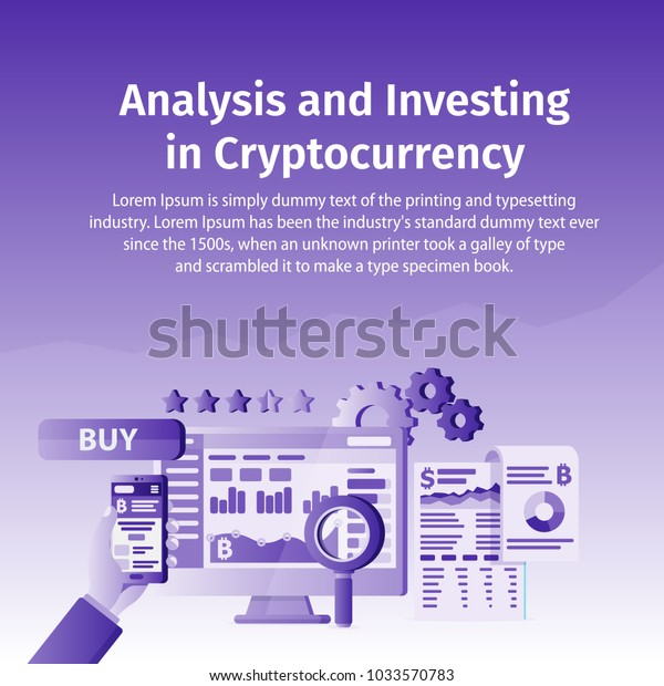 Analysis and Investing in Cryptocurrency. Person working on crypto start up. Blockchain technology. Laptop connected to a network of concepts. Template for posters and banner on the website.