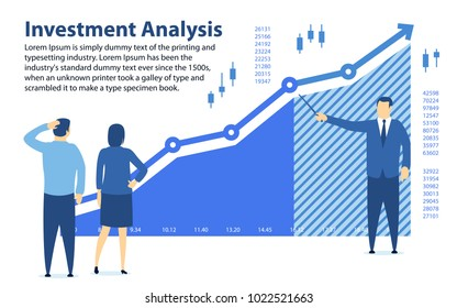 Analysis of investment. Banner in a flat style. Teaching financial literacy. The specialist shows the profit graph. Investments for beginners. Profit growth graph. Stock Trading. Vector illustration