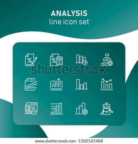 Analysis Line Icon Set Bar Chart Stock Vector (Royalty Free