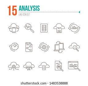 Analysis line icon set. Research, diagram, cloud. Business concept. Can be used for topics like server, process, management