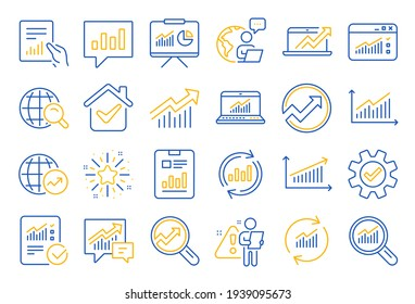Analysis line icons. Charts, Reports and Graphs. Vector