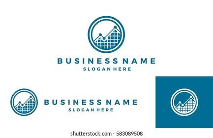 analysis logo, trading logo, finance logo, growing graph vector illustration