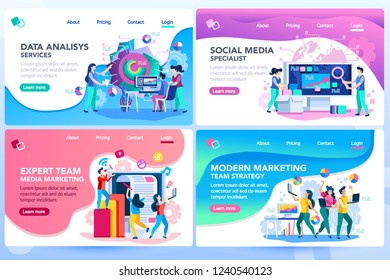Analysis management consult. Marketing modern strategy. Menu project navigation on software research. Characters on website tutorial template. Modern vector illustration flat concept set, landing page