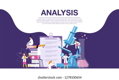 Analysis research laboratory vector illustration concept, ilustration of scientist working with modern tool set of chemistry, vector flat for poster, banner, web