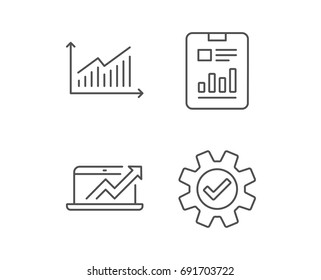 Analysis, Statistics line icons. Chart, Report and Service signs. Data and Presentation symbols. Quality design elements. Editable stroke. Vector