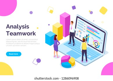 Analysis teamwork, people working together web vector. Male and female with laptop screen and diagrams, schemes and charts info in visual representation. Website template, landing page in flat style