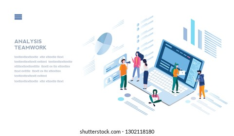 Analysis teamwork, project management, Analysis of sales, business statistic,  consulting team, startup, business analysis, planning, development, vector illustration.