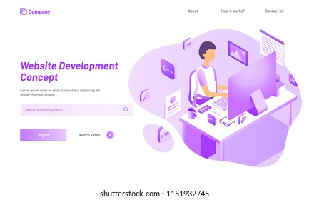 Analyst or developer searching the problem, isometric illustration of desktop with different programing languages, responsive web template for Website Development concept.