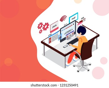 Analyst or developer searching the problem on computer, different programing languages signs on abstract background for software development programming concept based isometric design.