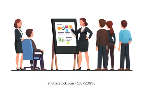 Analyst manager woman presenting business analysis data to superior executive or director boss man and staff. Consultant doing black board diagram presentation. Flat vector character illustration
