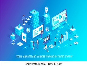 Analysts and managers work on crypto start up. People plan business based on cryptocurrency. Start up development in IT domain vector illustration.