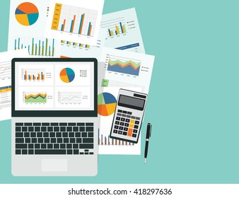 analytic graph in device with report paper concept and  business  planning investment concept.