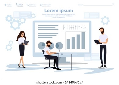 Analytic Research and Programming Landing Page.  Woman Makes Notes in Notebook, Man Collects Data,  Analyst Summarizes Results in Graphs and Charts on PC  and Huge Monitor. Vector Flat Illustration