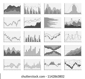 Analytical monochrome graphics. Control data chart set, graphs to study a process over time. Vector statistical diagrams illustration on white background