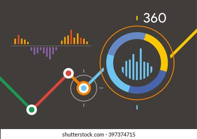 Analytics 360 dashboard. Dark infographic with diagram business template vector