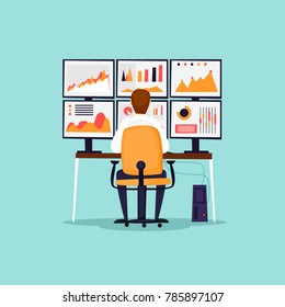 Analytics, analysis, risks, statistics, businessman is sitting at the computer in front of monitors. Flat design vector illustration.