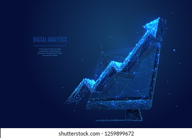 Analytics. Arrow up concept on computer monitor screen. Vector low poly wireframe in the form of starry sky or space, consisting of points, lines, and shapes in the form of stars with destruct shapes