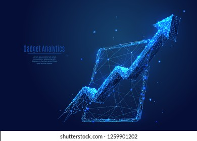 Analytics. Arrow up concept on tablet pc screen. Vector low poly wireframe in the form of starry sky or space, consisting of points, lines, and shapes in the form of stars. Polygonal digital abstract